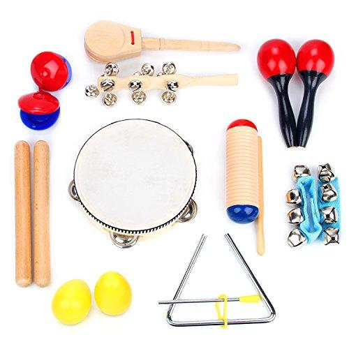 Set aus 16 Musikinstrumenten | Rhythmus & Musiklehre-Spielzeug für Kinder | Klangstäbe, Rasseln, Tamburin, Glockenkränze & Rumbakugeln für Kinder | Natürliches Musik-Spielzeug mit Tragetasche,