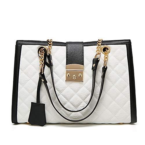 Damen Handtaschen Joker Große Kapazität Umhängetasche Mode Atmosphäre Kette Tote Lange Brieftasche Lingge Kleine Quadratische Tasche,White