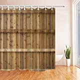 gohebe Holz Dekor Vorhänge Dusche von Holzbretter Zaun Wand Bad Vorhänge 180,3x 180,3cm