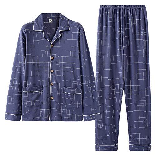 ZTING Männerschlafanzug, Winter 100{954f96ef939b9e32a37485c27ae6e69db272e485e542e9b751a98e1ebe19d35e} Baumwolle Männer-Pyjamas Langarm-Turn-down-Kragen Plus Größe Sleep Print Schlaf Lounge Homewear blau,XL