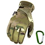 MECHANIX WEAR FASTFIT Einsatz-Handschuhe, optimale Passform, atmungsaktiv & Touchscreen fähig + Gear Karabiner in Coyote & Multicam Größe: S, M, L, XL (XL, Multicam)
