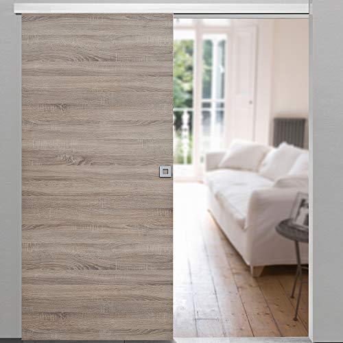 Rahmenlose Holzschiebetür in Wildeiche | Maße des Türblattes: 880 x 2035 mm | Inkl. Beschläge und einer oberen Laufschiene in 2 Metern | Geeignet als Zimmertürersatz