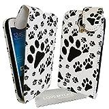 StyleBitz/Weiß & Schwarz Pfoten Tierpfote Hund und Katze Druck/Magnetverschluss Klappetui, für Samsung Galaxy S4 Mini/i9190 inklusive Reinigungstuch
