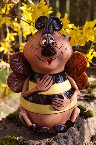 Dekostüberl Keramik Biene Lydia 17x13cm Handarbeit Gartenstecker Insekt Tierfigur