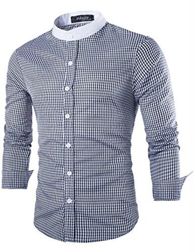 Men's Fashion Stand Collar Plaid Shirts Black Plaid
