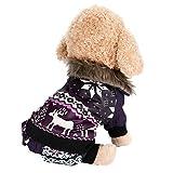 INTERNET Ropa para Perros, Perro Mascota Abrigo de algodón cálido Alce de Navidad Ropa de Invierno para Cachorros Disfraz de Mascota (Purpura, S)