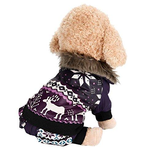 Imagen de ropa para perros, internet perro mascota abrigo de algodón cálido alce de navidad ropa de invierno para cachorros disfraz de mascota purpura, s