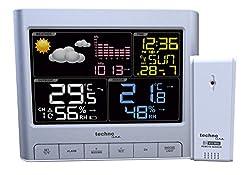 Technoline WS 6449 moderne Wetterstation mit LED-Anzeige, sowie Temperatur- und Luftdruckanzeige, Wettervorhersage mit Hilfe von Wettersymbolen, silber, 15,9 x 4,3 x 13 cm