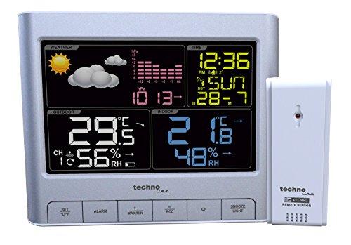 Technoline WS 6449 Wetterstation  LED-Anzeige, Innentemperatur, Außentemperatur, Funkuhr, Wettervorhersage, Luftfeuchteanzeige für innen und außen, inklusive Außensensor TX960-TH