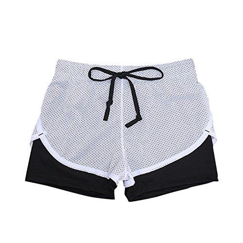 ROPALIA Femme Shorts de Sports Yoga Fitness Pantalon Gym Exercise Elastique M-XL Noir