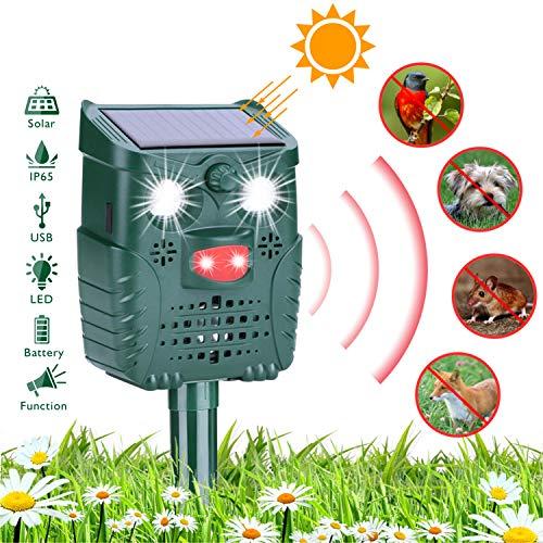 HEYSTOP Katzenschreck Solar, Tiervertreiber wasserdichte Utraschall Bewegungssensor Abwehr mit Batteriebetrieben und Blitz 4 Modus Einstellbar für Katzen, Hunde, Schädlinge, Rotwild -