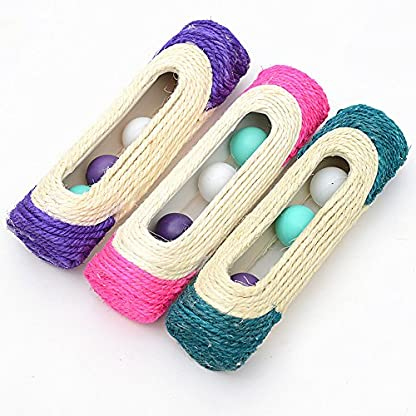OWIKAR Cat Scratcher Sisal Rope Woven Scratching Barrel Toys with Ball Trapped Ball Training Cat Catch Sisal Post Hollow Column, Pink Purple Green Random Color,1 pack 1