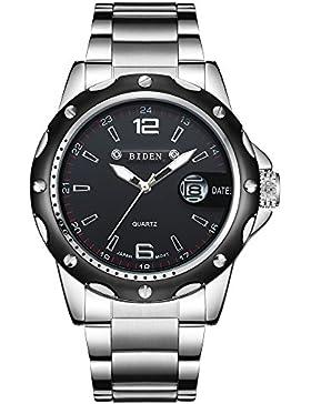 Uhren, Herren Uhren Edelstahl Luxus Fashion Wasserdicht Handgelenk Analog Quarz Armbanduhr