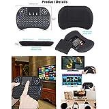 Delleu - Mini Teclado inalámbrico con Teclado táctil y botón de Desplazamiento, retroiluminado con LED para PC y Smart TV Negro Negro