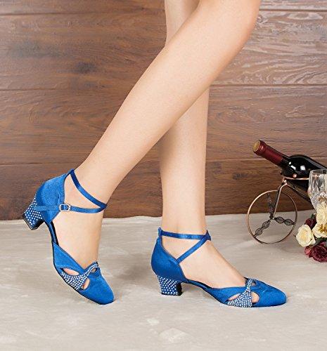 Minitoo pour femme Maille épaisse Talons Chaussures de danse Satin Bleu - bleu