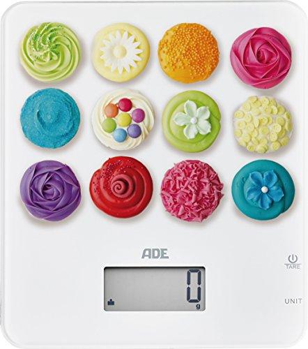 ADE Digitale Küchenwaage KE 1721 Tiffany. Elektronische Waage mit buntem Aufdruck für die süße Küche. Präzise wiegen bis 5kg, auch für Flüssigkeiten. Zuwiegefunktion Tara, LCD-Display. Inkl. Batterie