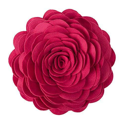 KINGROSE Hecho a mano Flores de rosa en 3D decorativo redondo Cojín...