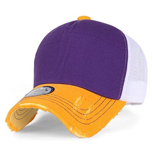 ililily schwarz klassischer Stil abgenutztes Aussehen Netz Snapback blank Trucker Cap Hut Baseball Cap, Purple, Medium Blank Trucker Hats