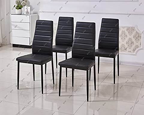 Slim Line Faux Leather Dining Chair High Back Foam Padded Home Kitchen Room Restaurant Furniture (4 Chairs, Black)