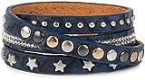 styleBREAKER Wickelarmband mit Strass, verschiedenen Nieten und Sterne, Armband, Damen 05040029, Farbe:Dunkelblau