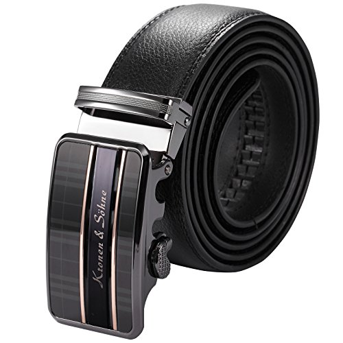 KS Men's Black Leather Belt, Stainless Steel Automatic Buckle KB065