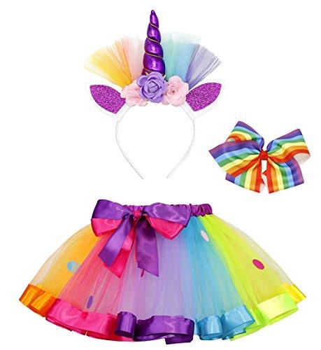 AmzBarley Costume da Unicorno per Ragazza Costume con Gonna Arcobaleno con Fermaglio Arcobaleno e Cerchietto per Capelli da Unicorno S