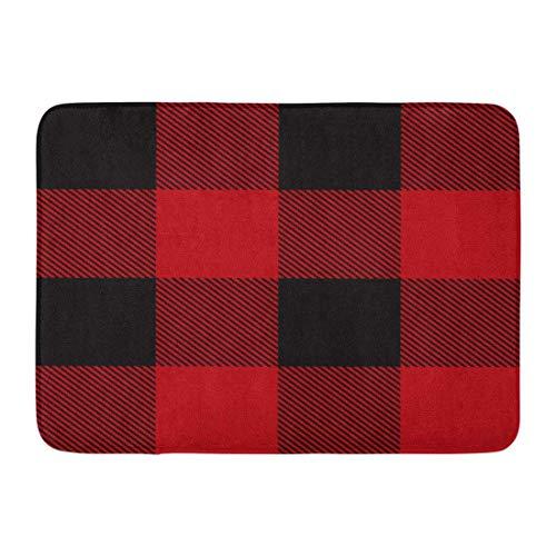 LIS HOME Fußmatten Badteppiche Outdoor/Indoor Fußmatte Red Buffalo Lumberjack Plaid Muster Check Flanell Casual Tartan Wolle Badezimmer Dekor Teppich Badematte -