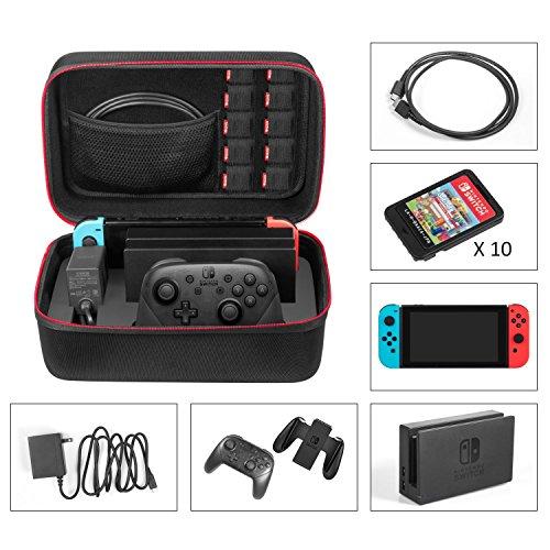 Nintendo Switch Tasche - Younik Deluxe harte Schalle Hülle für die Nintendo Switch Konsolle, Switch Dock, Netzteil, HDMI Kabel, Pro Kontrolleur und 10 Spiele