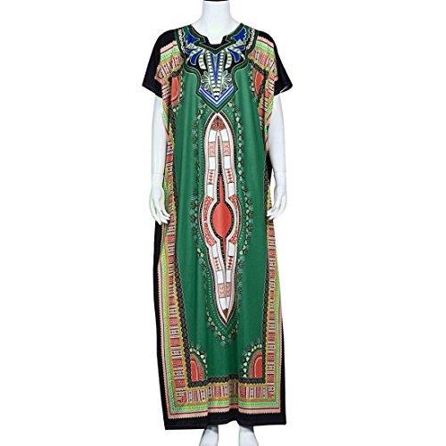 FEITONG Femmes Mode lâche africaine Imprimer Décontracté droite Imprimer Kaftan Robe Vert