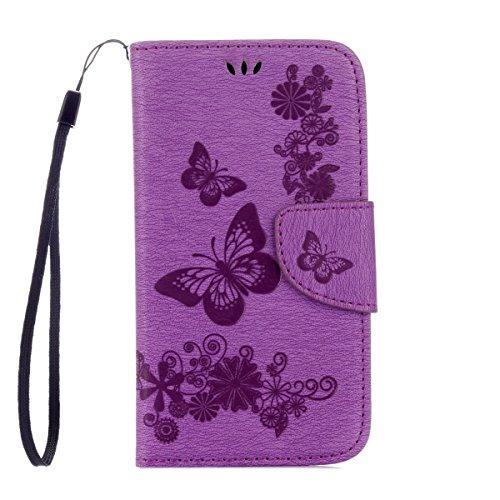 ISAKEN Kompatibel mit Galaxy S4 Mini Hülle, PU Leder Flip Cover Brieftasche Ledertasche Handyhülle Case Schutzhülle mit Handschlaufe Strap für Samsung Galaxy S4 Mini - Schmetterlinge Blumen Lila Mini-flip-cover