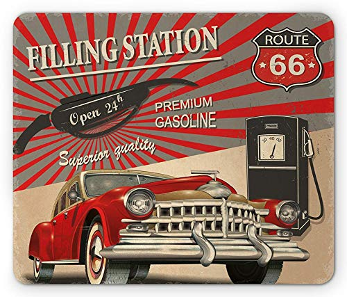 Cars Mouse Pad, Poster Style Image Gasoline Station Commercial Element Route 66 IllustrationPrint, Rectangle Mousepad, Standard...