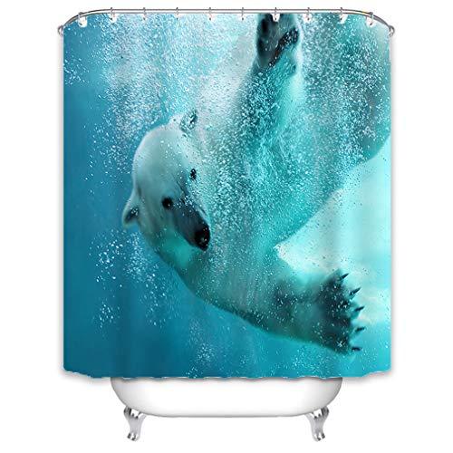 X-Labor Duschvorhang 240x200cm Wasserdicht Stoff Anti-Schimmel inkl. 12 Duschvorhangringe Waschbar Badewannevorhang 240x200cm Muster-D -