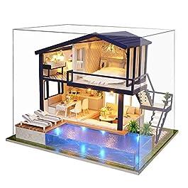 Fai da te Casa delle Bambole in legno bambola Villa Mobili Dollhouse tempo Appartamento con LED luce per ragazza regalo di natale, decorazione domestica