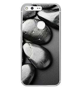 PrintVisa Designer Back Case Cover for Google Pixel (Black Metal Stone Pattern)