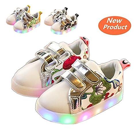 Chaussures Enfant, Chickwin LED Chaussures Lumineuse Bébé Enfant Unisexe Confortable Sneakers Clignotant LED Chaussures (25/ Mesure à l'intérieur (cm) 15, Rouge)