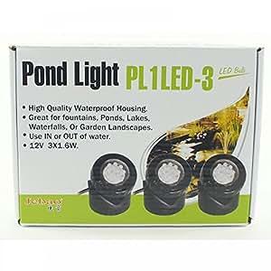 Set of 3 Jebao 12v LED Underwater Pond Lighting with Colour Lenses x 12