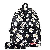 "Jian Ya Na girls Floral Polyester Casual Daypack Backpack Laptop for Girls,Bonus Pencil Case 11.8"" x 6.7"" x 15.7"" Black"