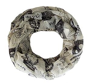 Striessnig Wien - Loop Schal Creme Weiß, Motiv Paris, großes Damen Schlauchtuch in creme schwarz, ca. 90 x 90cm LOOP