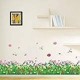 Ecloud Shop Belle fleur rose herbe verte avec Papillons Stickers Muraux Accueil art Décor Peel bâton Stickers muraux pour Coin mur Chambre d'enfants Chambre Salon Salle Bureaux Nursery Classroom