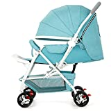 Vehículo Todo Terreno Cochecito De Cuatro Ruedas Ultraligero Portátil Plegable Sentado Sentado Carro De Bebé SUV Absorción De Impactos,Blue