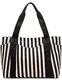 Sornean Striped Cotton Heavy Canvas Shoulder Hand Bag For Women, Zipper Top, With Outer Pocket (Black Strips)