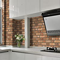HyFanStr azulejos de vinilo efecto pared de ladrillos en relieve Pegatinas de pared Adhesivo Stickers para baño y cocina