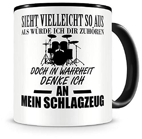 Samunshi® Ich denke an mein Schlagzeug Musik Instrument Tasse Kaffeetasse Teetasse Kaffeepott Kaffeebecher Becher Schlagzeug
