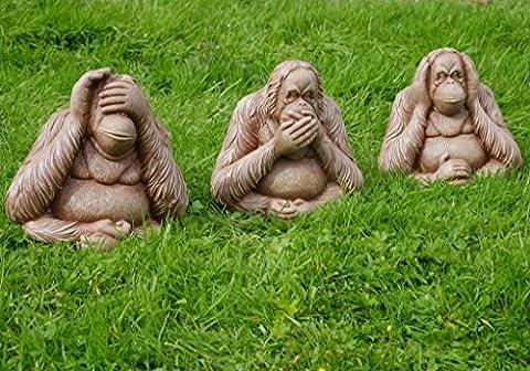 Garden Mile® 3Pc Wise Monkeys Stone Effect Garden Ornaments, Large Hear No Evil, Speak No Evil, See No Evil Vintage Garden
