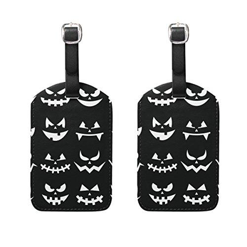 COOSUN Scary Halloween Kürbis-Gesichter auf schwarzem Hintergrund Kofferanhänger Reise Labels Tag-Namenskartenhalter für Gepäck Koffer Tasche Rucksäcke, 2 PCS Mittel Mehrfarbig