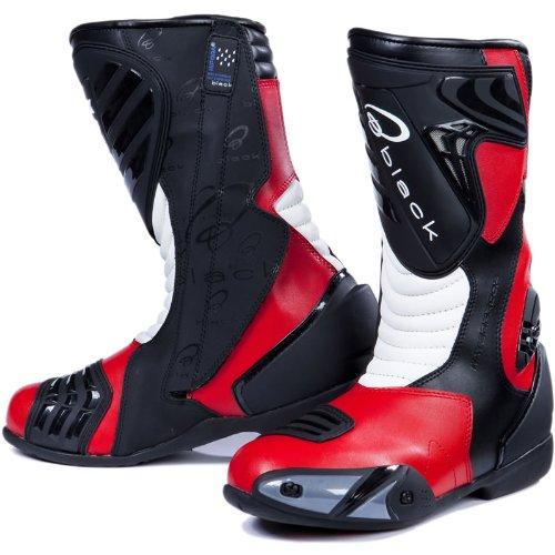 #Black Zero – Motorrad-Stiefel – wasserdicht – Sport/Racing – Rot – EU43 (UK9)#