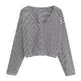 Mädchen V-Ausschnitt Gestreifte T-Shirt Crop Top Longsleeve Tops Basic Pullover Oberteile Elegant Kurz Tuniken Hemd Shirt Oberteile Damen Herbst Tuniken Bluse Hemd