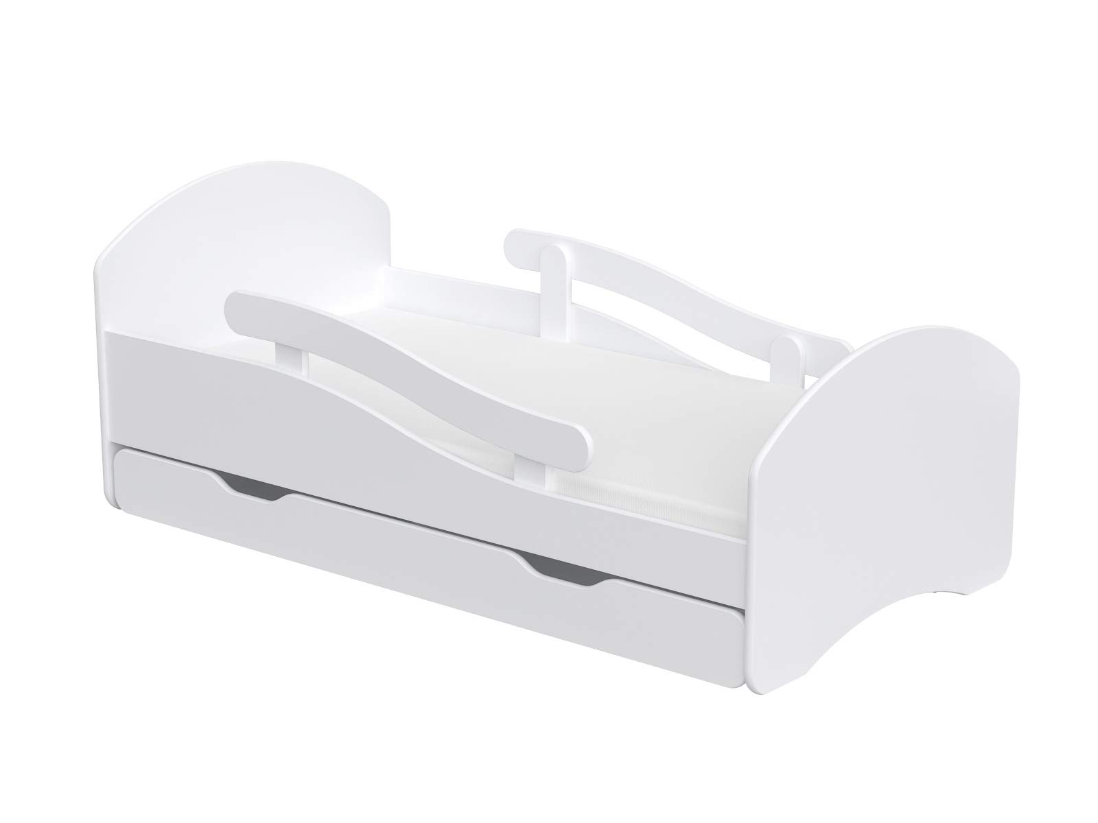 ChildrensBeds Home Single Bed Oscar For Kids Children Toddler Juniors With Drawers and 6 cm Foam Mattress Included (White, 160x80) Children's Beds Home Bed with barriers - internal dimensions 140x70, 160x80, 180x80 (External dimensions: 145x76, 165x86, 185x86) Height to top of the bed frame at lowes point is 27 cm. Bed frame with load capacity of 100 kg, Fittings + installation instructions Universal bed entrance - right or left side, front barriers can be easily removed during the day and put back at night 1
