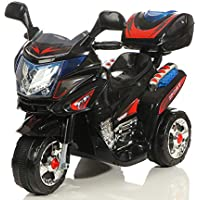 Toyas Elektro Kinder Akku Motorrad Kinderfahrzeug Polizei Elektromotorrad Schwarz