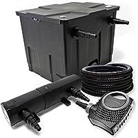 Juego de filtros filtro para estanque bio 12000L UVC depuradora con 24W 80W Bomba y manguera de 25m